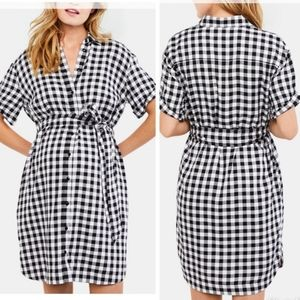 A PEA IN THE POD Checker Belted Shirtdress
